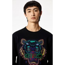 Kenzo Mens Holiday Capsule Collection embroidered Tiger sweatshirt black